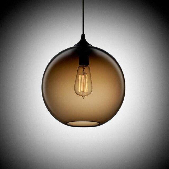 Loft Antique Vintage Industrial 6 Color Glass Ball Pendant Lights Fixtures for Kitchen Restaurant Dining/Living Room Cafe Bar
