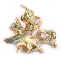 Charms Seashells Gold-Plated Pendant Home-Decor Natural for DIY Handmade TR0262 5pcs