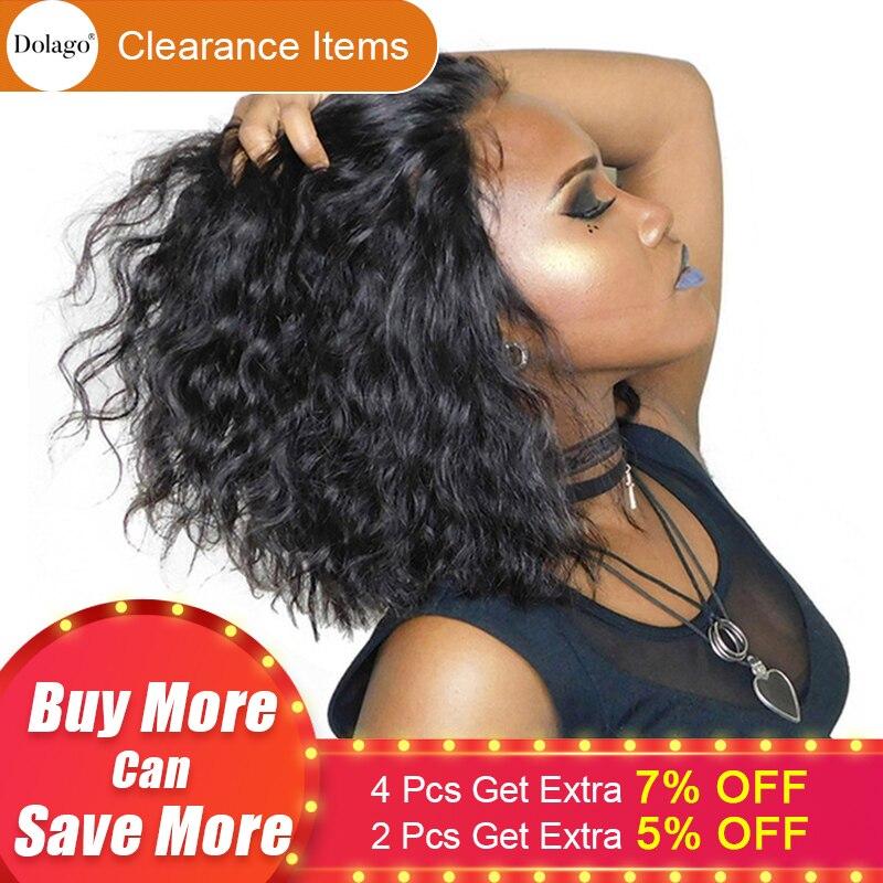 Courtes Perruques de Cheveux Humains Pour Les Femmes Brésilien Ondulés Bob Avant de Lacet Perruques Pré Pincées Avec Bébé Cheveux Dolago Remy Noir 130% Extrémités Complètes