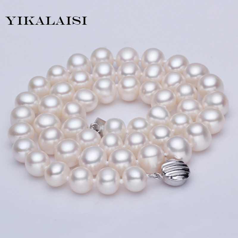 YIKALAISI 2017 100 Genuine natural Freshwater Natural Pearl Necklace for Women 925 sterling sillverPearl Jewelry best