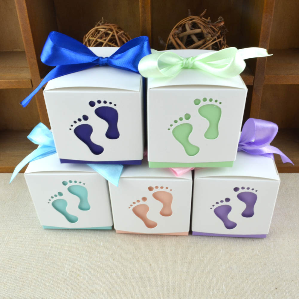 Hollow New Baby Shower Baby Feet Candy Box With Ribbons Forbabys Birthday And Party Gifts Favors 100pcs/lot Event & Party