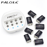 PALO C822 Dual Toy Battery Charger for 6F22 9V Lithium ion Rechargeable Batteries+8pcs Li ion 9v rechargeable battery
