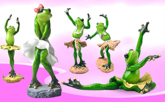 Resin Creative 3D Graceful Dancing Frog Figures Decoration Figurine  Model,flowerpots,Garden Decoration,