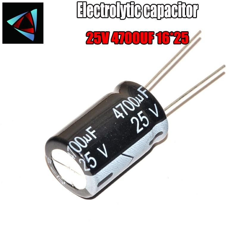2PCS Higt Quality 25V 4700UF 16*25mm 4700UF 25V 16*25 Electrolytic Capacitor