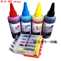 Kit canon 550 551 cartucho de tinta recarregáveis com chips de ARCO + 400 ml canon tintas Da Tintura para Pixma MX725/MX920/MX925