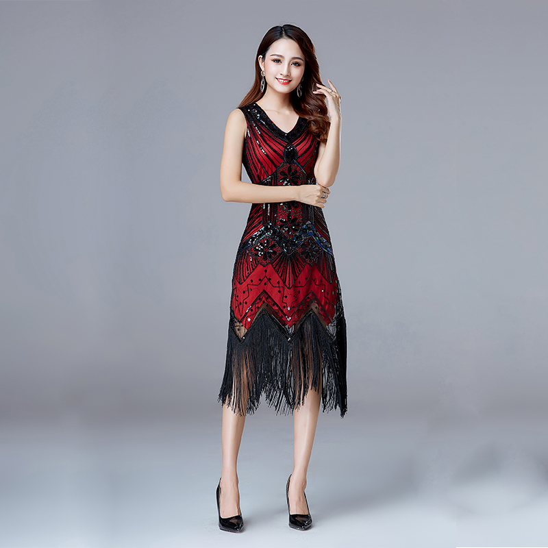 cc453bd667c ... 1920s Vintage Flapper Great Gatsby Party Dress V-Neck Sleeveless Sequin  Beaded style Style Tassel ...
