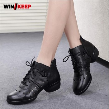 2019 New Arrival Dance Shoes Woman Cut Outs Sneaker Lace Up For Woman Salsa Ballroom Dancing Modern Jazz Latin Shoes Block Heel