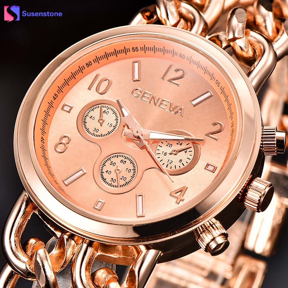 Fashion Women's Bracelet Watch Rose Gold Stainless Steel Link Chain Band Geneva Analog Quartz Wrist Watch reloj mujer Luxury smileomg hot sale fashion women crystal stainless steel analog quartz wrist watch bracelet free shipping christmas gift sep 5
