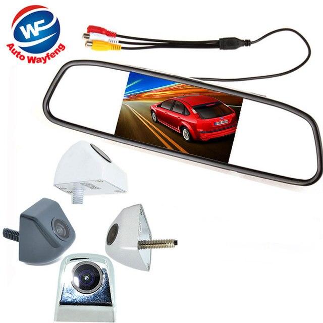"2 in 1 HD CCD backup reversing Camera +4.3"" HD 800*480 Car Mirror Monitor , Rear view mirror monitor car parking Rearview camera"