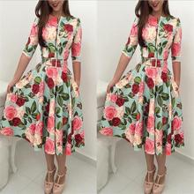 Dress Women 2019 Autumn Print Newest Bandage Bodycon Casual Long Sleeve Zipper Evening Party Midi Floral Suits