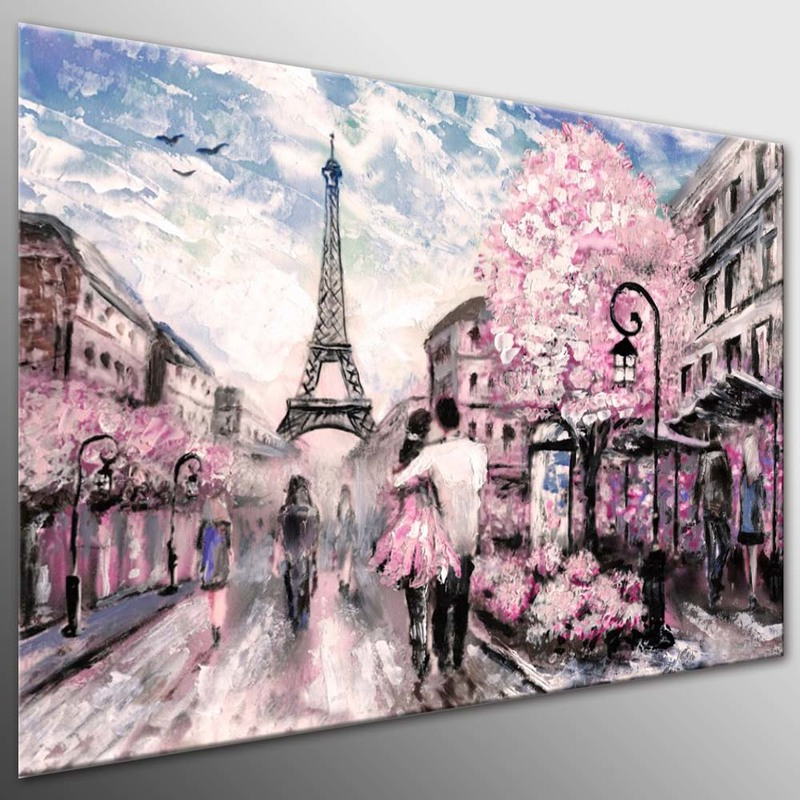 DIY Framed Canvas Painting Oil Painting City Scape Pink Paris Street Photo City Art Picture Lovers In Paris Tower Art(China)