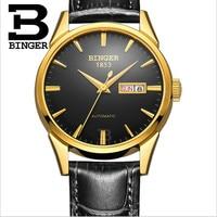 Einfache Art Und Weise Männer Business Uhren Selbst Wicklung Wasserdicht Echtem Leder Uhr Mechanische Kalender armbanduhr Woche Montre-in Mechanische Uhren aus Uhren bei