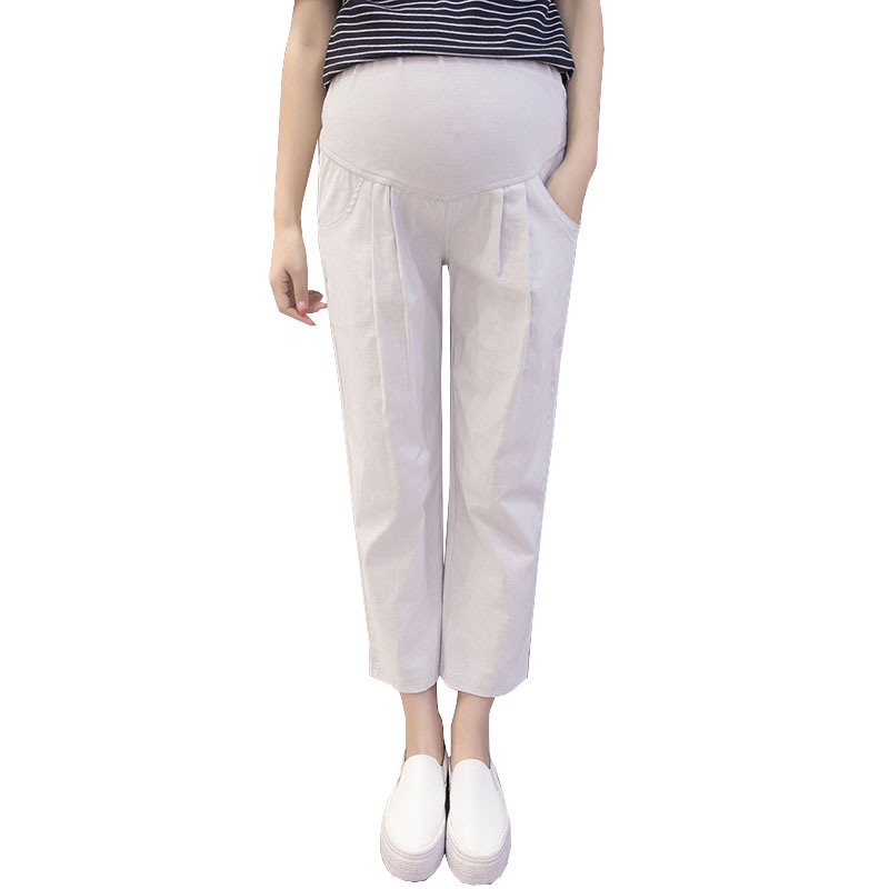 Linen Maternity Pants Cotton Prop Belly Casual Capris or Pregnant Women Clothes Nursing Pregnancy Trousers Gravidas Pants