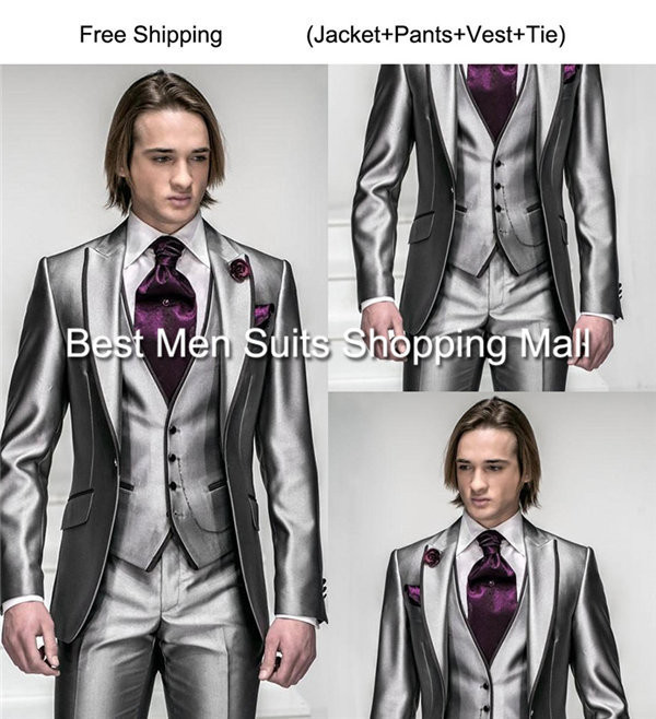 Italian Luxury Mens Grey Suits Jacket Pants Formal Dress Men Suit ...