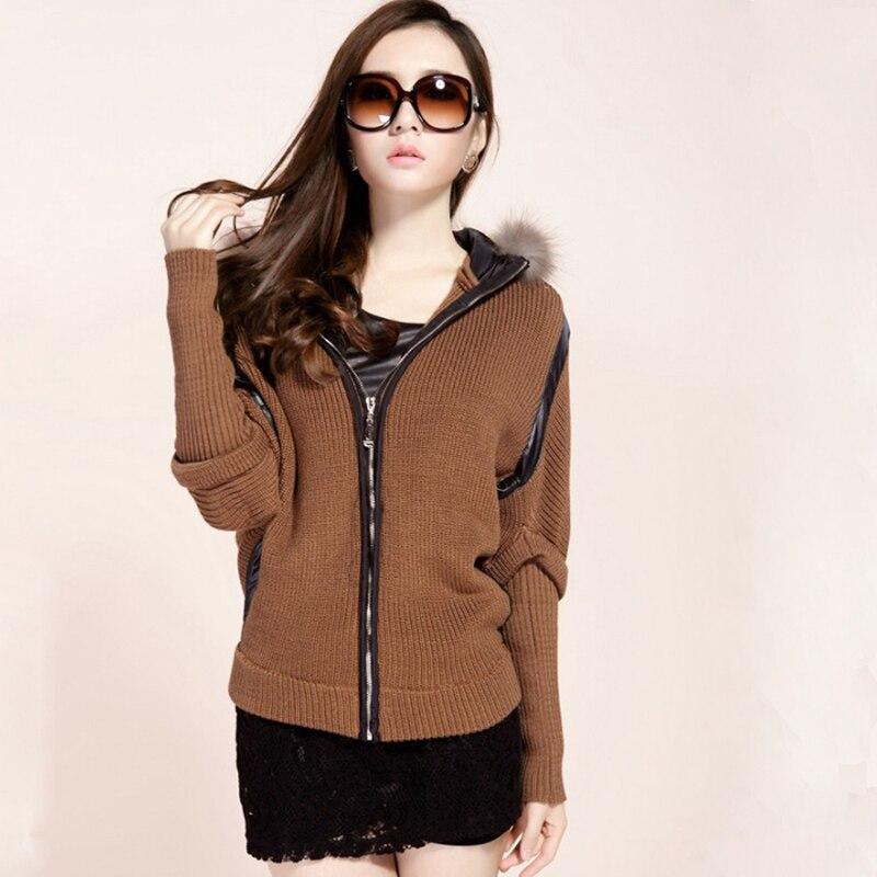Nice New Winter Women Casual Knitted Sweater Long Batwing Sleeve Cardigan Real Raccoon Fur Hood Coat Jacket Outwear Tops S2455