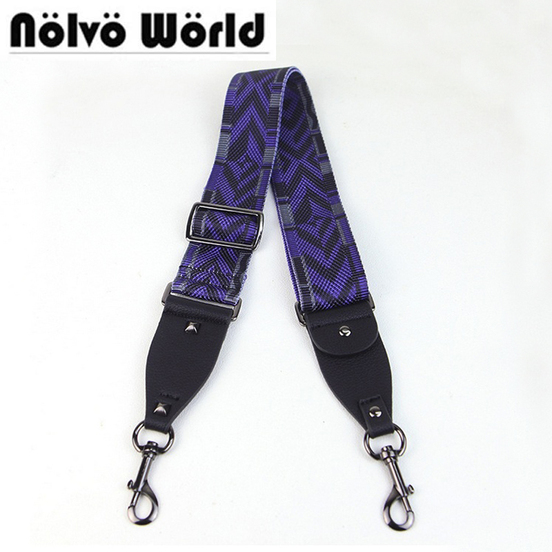 Max 130cm Width 5cm Width Women Shoulder Strap for Handles Dark Blue Black Mix Canvas Ladies Bags Shoulder Strap Rivets Strap