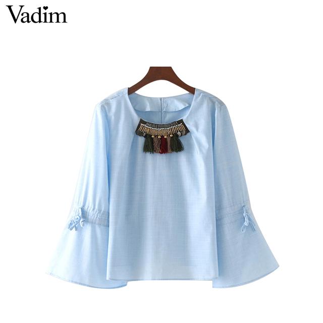 Vadim beading tassels blue shirts flare bell long sleeve drawstring bow tie blouses vintage retro casual brand tops LT1875