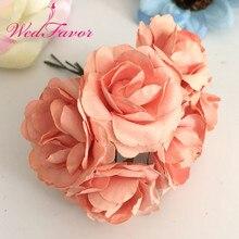 144 шт 3,5 см имитация бумажные цветы шелковицы искусственный Скрапбукинг розы Букет для гирлянды корсаж свадебное оформление коробки