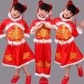 Новый Китайский Новый Год Праздник Весны Детей Белый Плюшевый Костюм Девушки Красный Yangko Танец Костюм Цветочные Радостное Национальный Dress