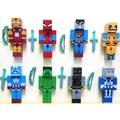 24 unids/lote Minecraft Superhéroe building block Toy set 2015 Nueva Serie 3 espada minecraft zombie steve juguetes estatuilla piqueta