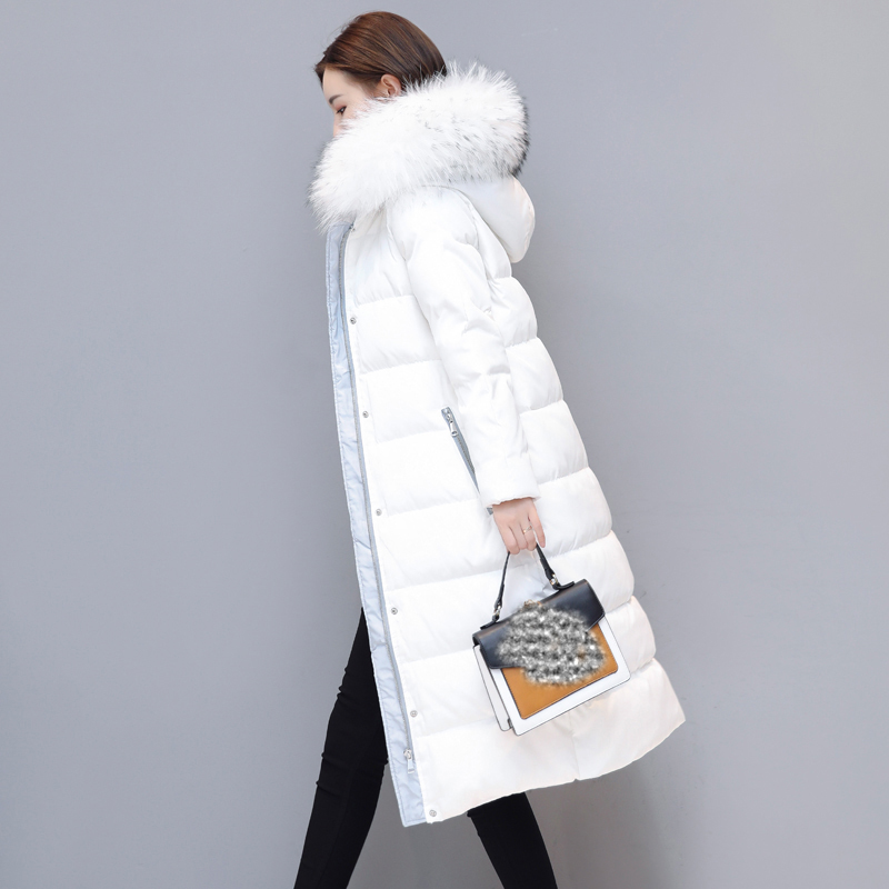 2017 Winter Long Down Jackets Girls Winter Down Coats Womens white duck down Parkas Hooded Fur Collar plus size outerwear QH0848 buenos ninos thick winter children jackets girls boys coats hooded raccoon fur collar kids outerwear duck down padded snowsuit