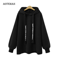 AOTEMAN Autumn Winter Women Sweatshirt 2019 Casual Solid Warm Loose Hoodies Sweatshirt Long Sleeve BF harajuku Plus Size 5XL