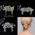 Trendy Woman Hairwear Wedding Silver Rhodium Leaf Girl Fashion Jewelry Bride Haircomb Alloy Rhinestone Accessories Hair Combs
