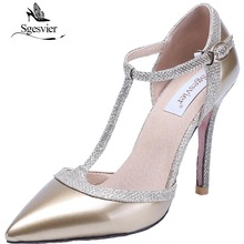 Pumps Nude Dress-Shoes T-Strap Wedding High-Heels Pointed-Toe Sexy Size-31-47 SGESVIER