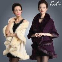 Новые модные длинные шерстяные кашемировые из искусственного лисьего Мех животных пальто кардиган Для женщин пончо вязаный свитер Для жен...