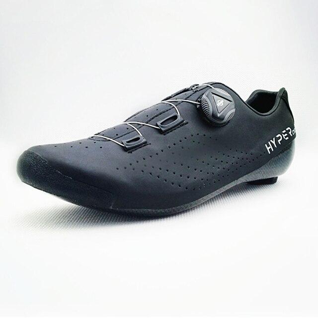 Hyper original ciclismo sapatos calor moldável 3 k fibra de carbono bicicleta de estrada tênis 1 cadarços auto-bloqueio termoplástico bicicleta 4
