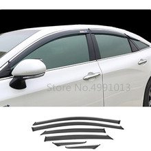 Para toyota avalon xx50 2018 2019 2020 capa do carro adesivo lâmpada de plástico janela vidro vento viseira chuva/sun guard ventilação 6pcs