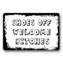 Entrance Floor Mat Non-slip Doormat Shoes Off Welcome Bitches Door Outdoor Indoor Rubber Non-woven 18x30 inch