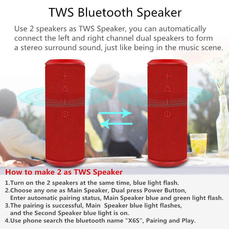 W KING X6S Bluetooth Speaker 20W Portable Super Bass Waterproof Speaker  With 360 Stereo Sound Soundbar Column For Music MP3 Play