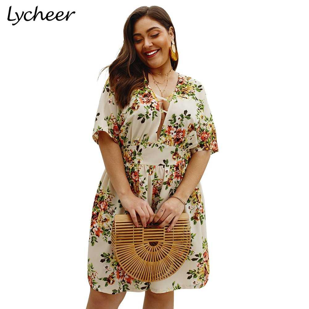 Lycheer в богемном стиле, большого размера Женская обувь на каждый день с цветочным принтом; комбинезон летний пляжный Повседневный игровой костюм пикантные Большие размеры с высокой талией в стиле бохо в целом