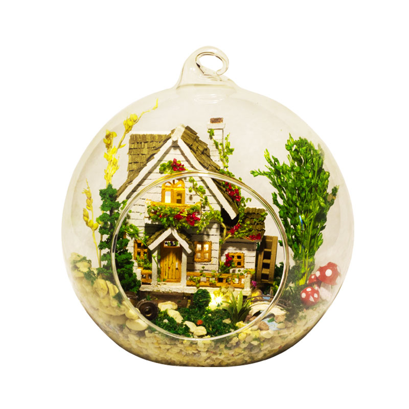 Creative DIY Dollhouse Miniature With Furniture Glass Ball Hemp Rope LED Handmade Casa Gift Toy For Children FOREST HOME G015 #E