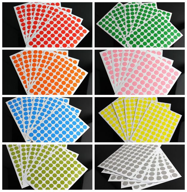 Plain Color Label Dot Sticker Blank Adhesive 10mm Circle Round Stickers  Inventory Code Tag