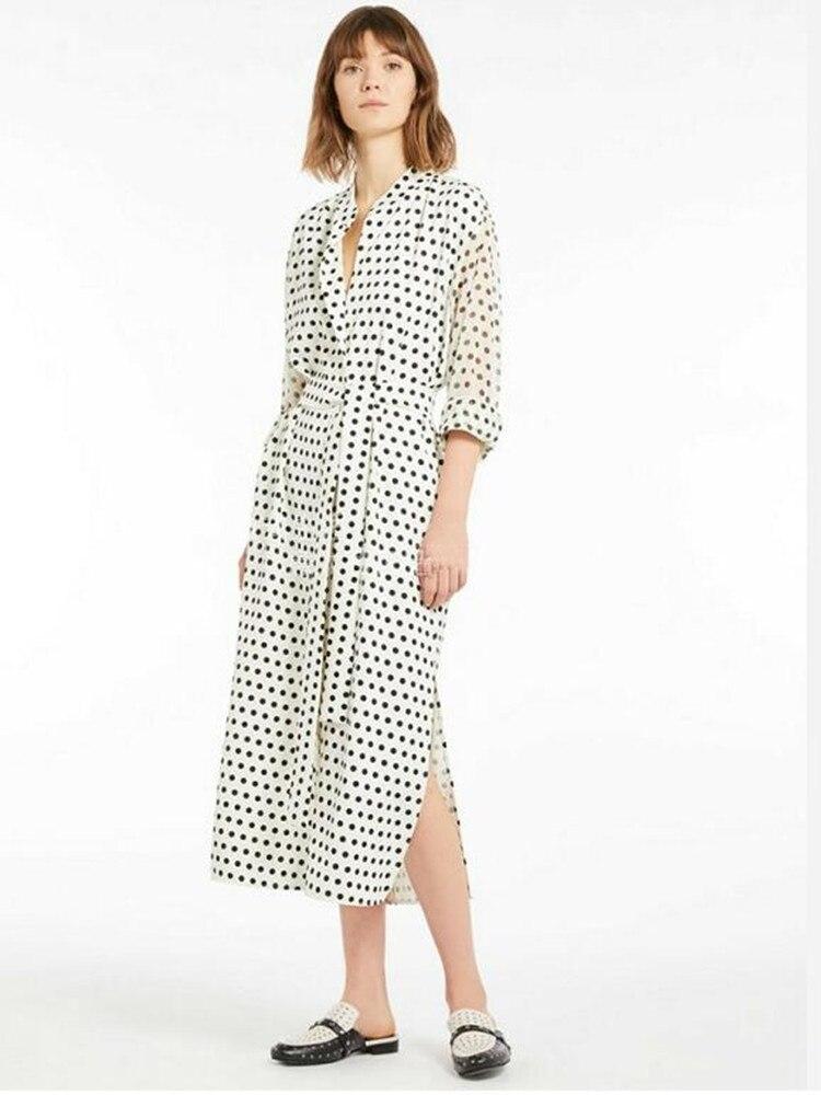 2019 New Women Polka Dot Print White Wrap Dress Long Sleeve Slim Midi Dress With Belt