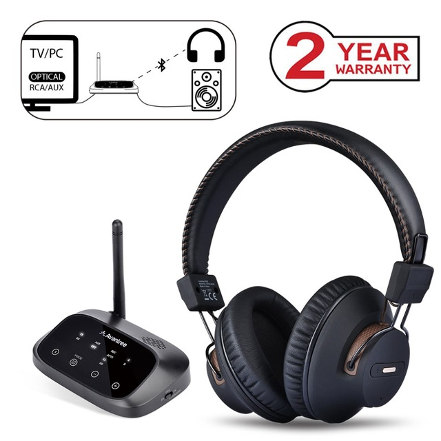 dfae1fb7e6f Avantree LONG RANGE Wireless Headphones for TV Watching with Bluetooth  Transmitter, Support Optical, RCA, 3.5mm AUX, Plug & Play