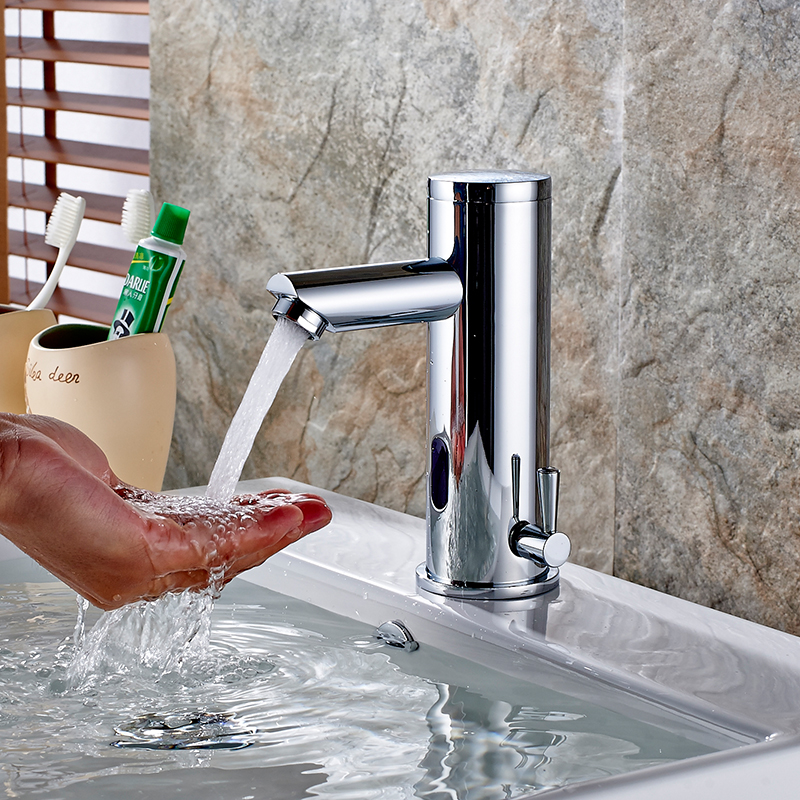 FLG Bath Basin Faucet Hot Cold Water Taps Automatic Hands Touch ...