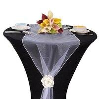 Wedding Decoration 50cm Wide Sheer Crystal Organza Fabric Tull Roll For Wedding Chair Sash Bow Table