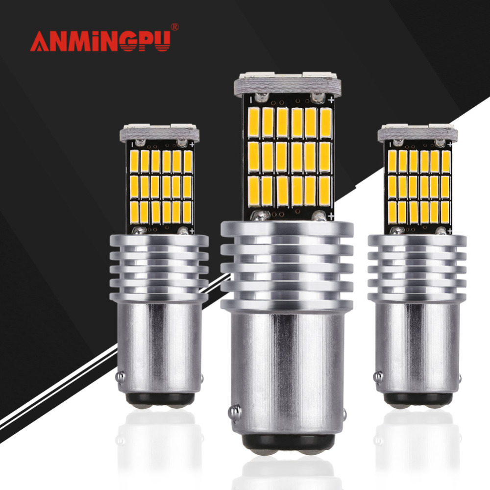 ANMINGPU 2x Signal Lamp Bay15d Led Canbus P21/5W Led 1157 45 Led Smd 4014 Brake Stop Backup Tail Light Led Car Light Bulb White