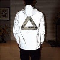 Men Jacket Casual Hiphop Windbreaker 3m Reflective Jacket Tide Brand Men And Women Lovers Sport Coat