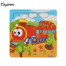 2017 New Hot Sale Children's  Wooden Train Jigsaw Toys For Kids Education And Learning Puzzles Toy High Free for shipping Apr 12