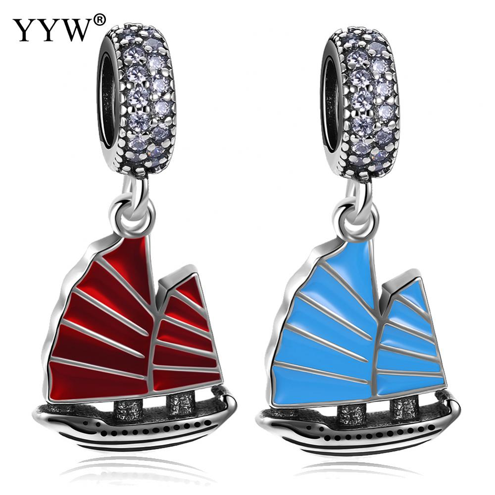 925 Sterling Silver Sail Boat PENDANT CHARM Pendant Fit Bracelet Jewelry Women Fashion Accessories