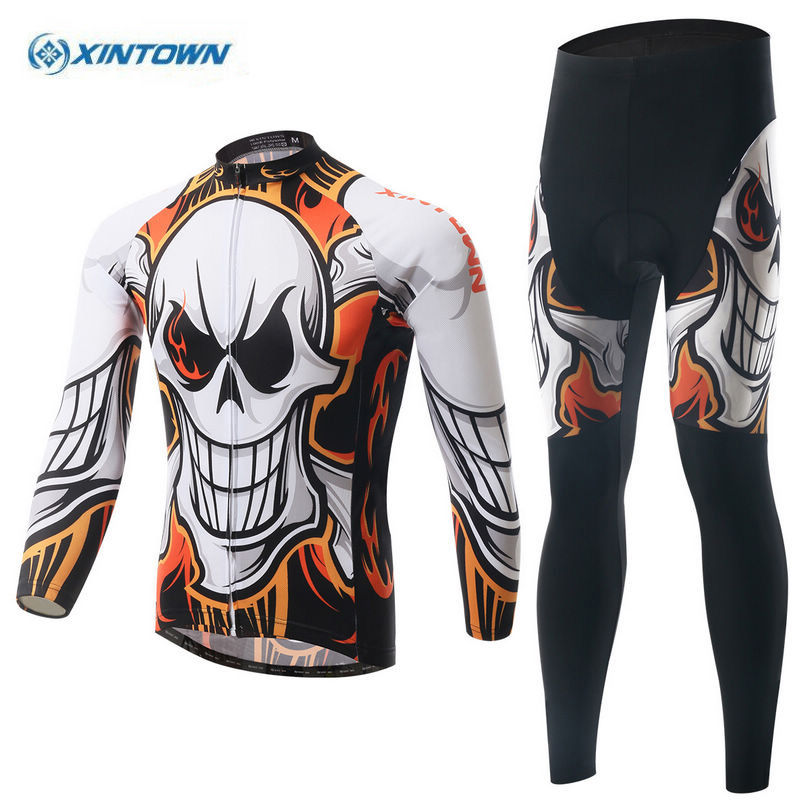 XINTOWN Team Mens Bicycle Ropa Ciclismo Cycling Jersey Jacket Bike Outdoor Tops Long Pants Set Winter teleyi team cycling outfits mens ropa ciclismo long sleeve jersey bib pants kits bicycle jacket trousers set red black