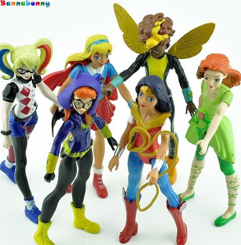 12 комплектов = 72 шт./лот мстители альянс супер герой девушки Ядовитый плющ пчелы Харли Квинн Wonder Woman фигурку куклы 15 см