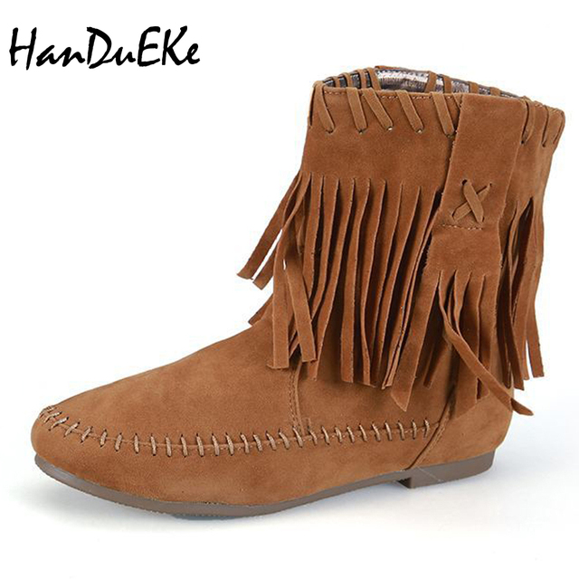 Womens Tassled Round Toe Boots
