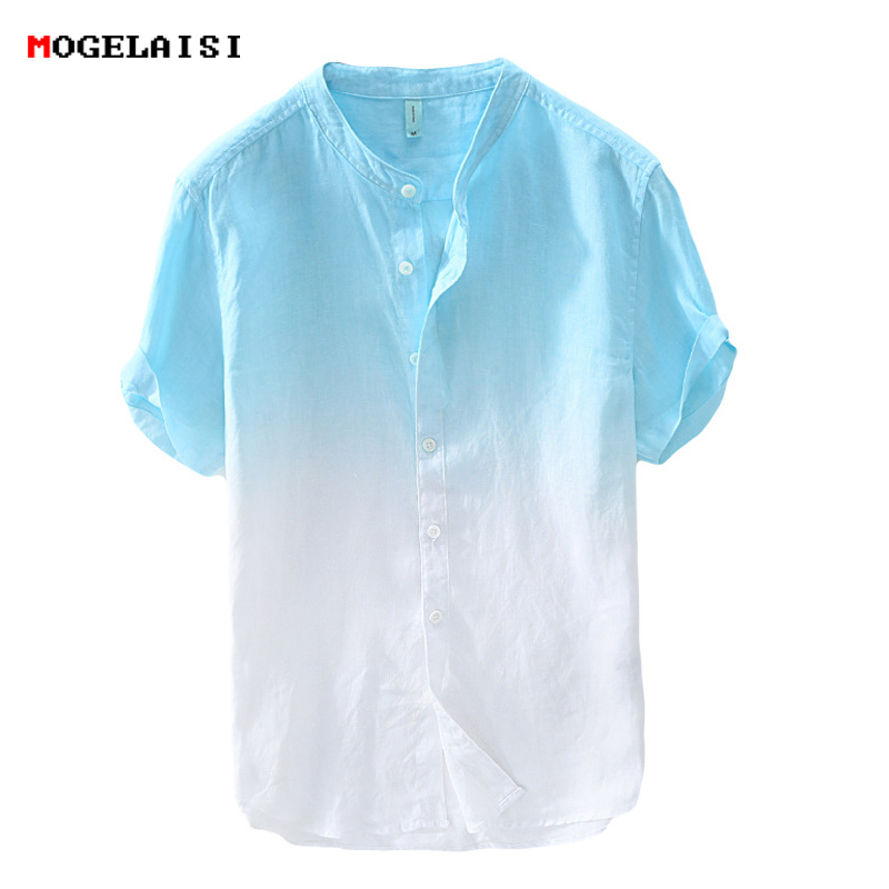 2018 summer new Gradient shirts men short sleeve linen cotton breathable fashion comfortable shirt tops asian size M 3XL 739