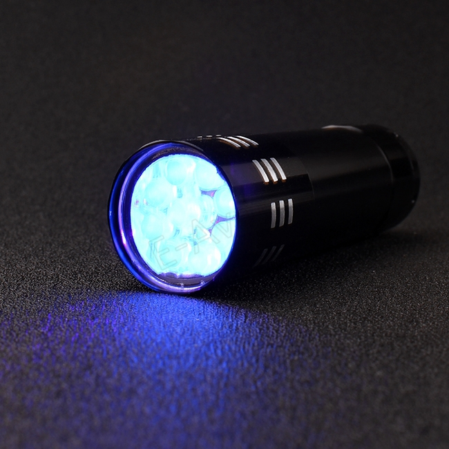 9 LED UV Ultra Violet Black Light AAA Flashlight Torch Light Black Color Gift Drop