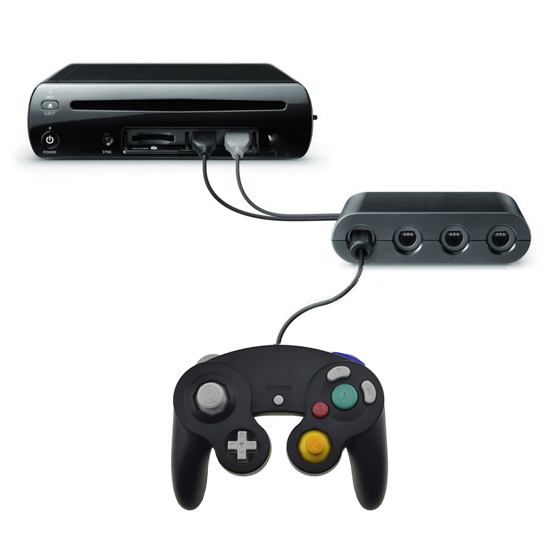 2 Em 1 Controlador de Conversor Adaptador para Nintend GameCube Wii U PC Para WiiU